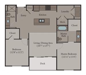 2 Bedroom 2 Bath Apartment Floor Plan | Venice Accessible