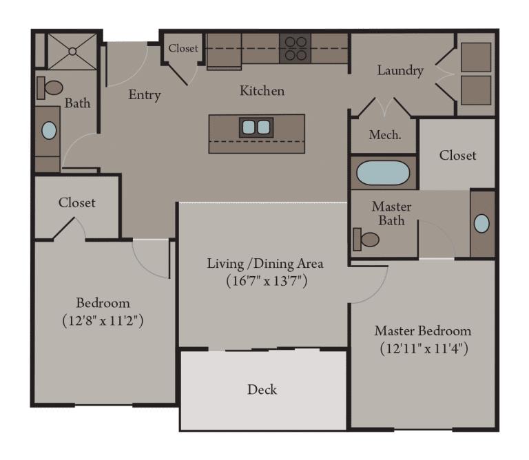 2 Bedroom 2 Bath Apartment Floor Plan   Venice Accessible
