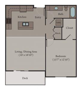 1 Bedroom 1 Bath Apartment Floor Plan | Genoa
