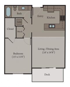 1 Bedroom 1 Bath Apartment Floor Plan | Milan