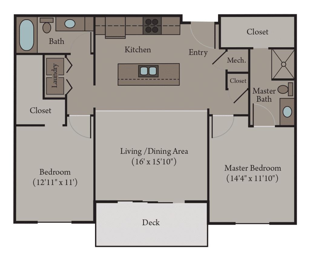 2 Bedroom 2 Bath Apartment Floor Plan | Naples
