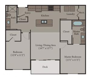 2 Bedroom 2 Bath Apartment Floor Plan | Venice