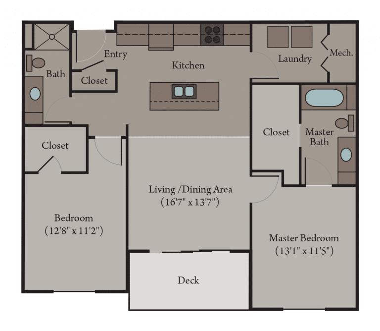 2 Bedroom 2 Bath Apartment Floor Plan   Venice