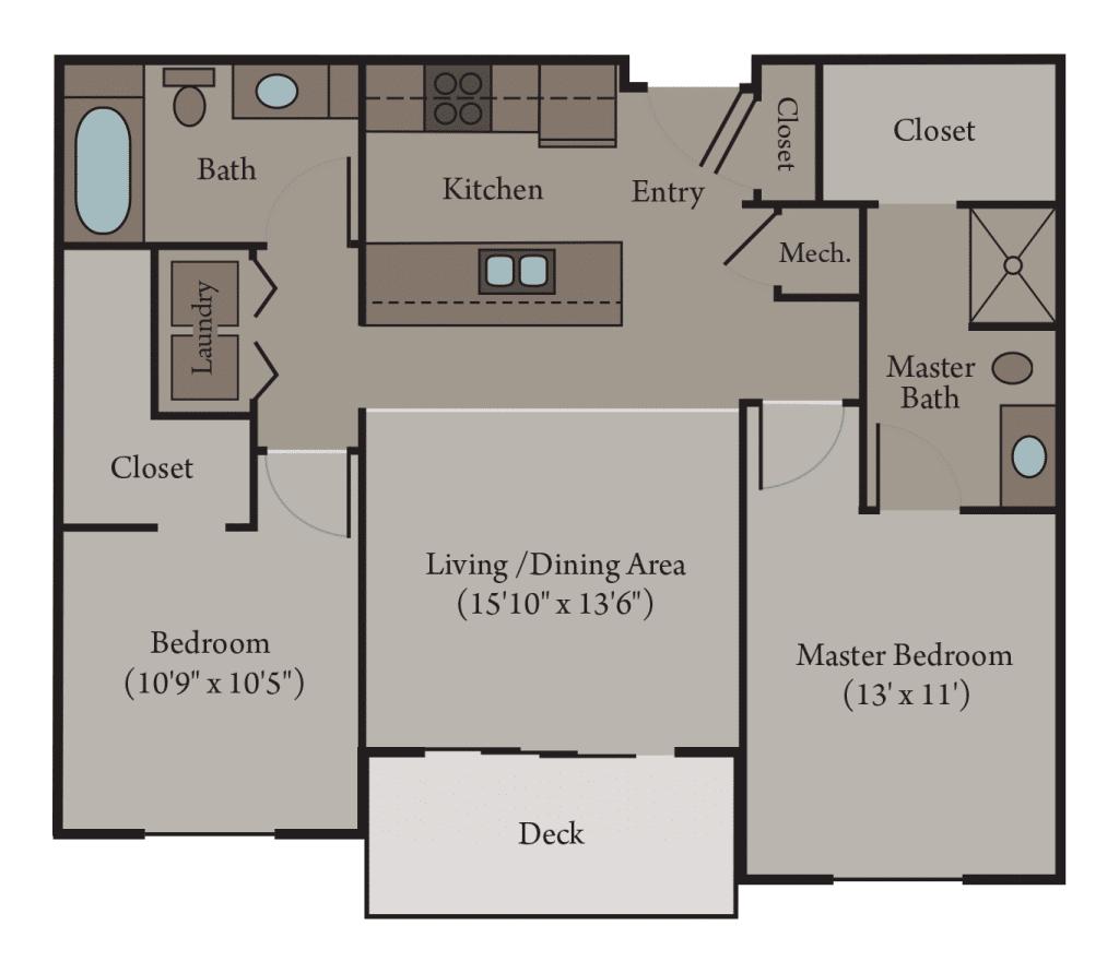 2 Bedroom 2 Bathroom | Turin Floor Plan
