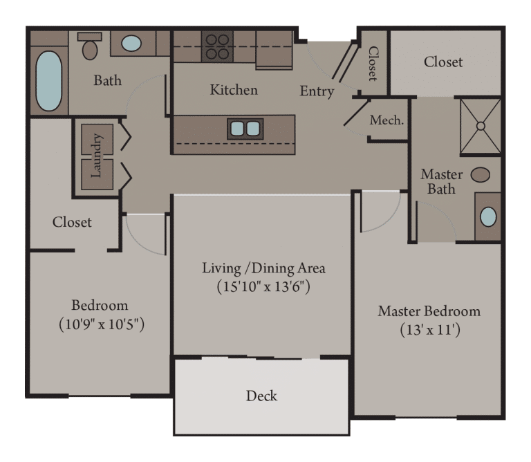 2 Bedroom 2 Bathroom   Turin Floor Plan